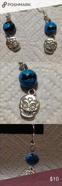 Spotted while shopping on Poshmark: Blue Turquoise Sugar Skull Earrings! #poshmark #fashion #shopping #style #PeaceFrog #Jewelry