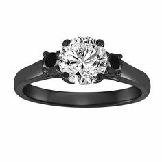 Vintage Style Black Gold Diamond Engagement Ring, With Black Diamonds Wedding Ring, Three Stone Certified Handmade