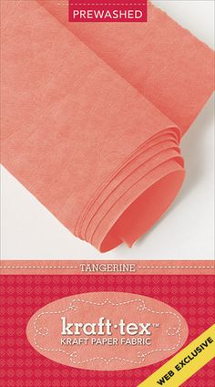 Just what you've been waiting for - colored kraft-tex! Wait until you get your hands on this vibrant tangerine orange paper that looks, feels, and wears like leather, but sews, cuts, and washes just like fabric. kraft-tex is supple, yet strong enough to use for projects that get tough wear.