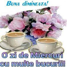 Imagini buni dimineata si o zi frumoasa pentru tine! - BunaDimineataImagini.ro Good Morning, Tea Cups, Tableware, Flowers, Religion, Facebook, Motivation, Quotes, Model