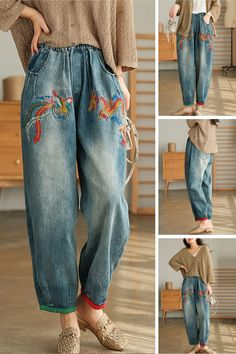 Stylish Older Women, Stylish Dresses For Girls, Simple Dresses, Denim Fashion, Boho Fashion, Fashion Outfits, Fashion Design, 90s Inspired Outfits, Harem Jeans