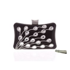 "Taidaf Women Luxury Rhinestone Evening Bag Peacock Purse Prom Wedding Clutch Handbags+Money Clip(Black). FASHION & LUXURIOUS RHINESTONE EVENING BAG--crystal peacock feather pattern with rhinestine clasp closure and high quality fabric interior with 3 zipper pockets. APPLY FOR MANY OCCASIONS--3 in 1 bag(handbag,and cross-body bag) SUIT FOR parties,prom,night out,shopping,dinner,PERFECTLY FOR EVENING DRESS. LARGE SIZE--bag size:20 X 12 X 6 cm/7.9''*4.7''*2.4'',chains length:21"" and 7"",suit…"