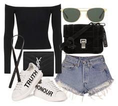 """""""Untitled #21016"""" by florencia95 ❤ liked on Polyvore featuring Levi's, Yves Saint Laurent, Topshop, Ray-Ban, Alexander McQueen, Proenza Schouler and H&M"""
