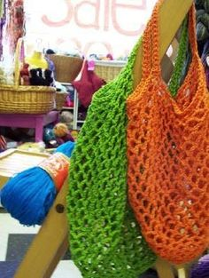 Crochet Grocery Bag Pattern By Haley Waxberg My current distraction: crocheted shopping bags. this batch is for my cousin Jason. It'...