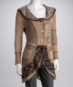 Another great find on #zulily! Beige Swirl Sweater Coat - Women by Fantazia #zulilyfinds