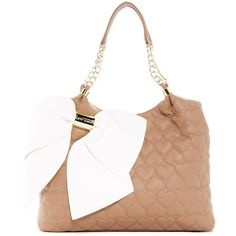 Betsey Johnson Bow Dacious Tote ($60) ❤ liked on Polyvore featuring bags, handbags, tote bags, spice, handbags totes, quilted tote, laptop tote, laptop purse et white tote bag
