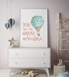 Hot air balloon nursery, adventure baby girl shower gift, mint green nursery art wanderlust, coral gold, you are our greatest adventure sign Baby Boy Nursery Themes, Baby Girl Shower Themes, Baby Boy Nurseries, Nursery Ideas, Mint Green Nursery, Coral Nursery, Nursery Room, Boys Room Decor, Kids Room