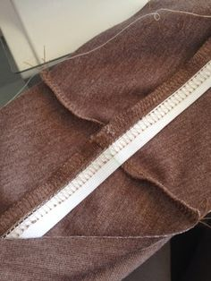 Away I Sew!: Hidden elastic in a yoga pant-style waist band --- hidden elastic tucked inside top of waistband like on rtw yoga pants, used to help with stretch recovery of waistband on Colette Mabel knit skirt pattern. Excellent!
