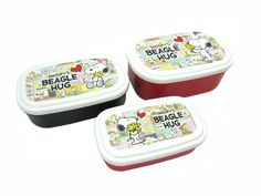 """Here's a sweet food storage set featuring Snoopy and Woodstock in """"Snoopy's Beagle Hug.""""    The set contains three different containers in three different sizes, each with a different picture of Snoopy and Woodstock hugging, along with comic strip squares of various Peanuts characters hugging. They are BPA-free and can be used in the microwave."""