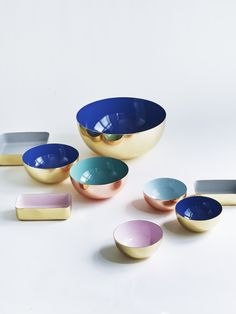 Beautiful Brass & Blue Enamel Bowls from Nordic Elements.