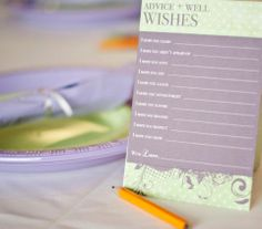 Baby Shower Activity: Advice and Wishes for the Baby (for them to read when they grow up!) #babyshower