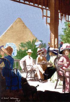 Un après midi sur la terrasse du Mena House Hôtel, circa 1909 Death On The Nile, Egyptian Mummies, Pyramids Of Giza, Unique Hotels, Egypt Travel, Amelia Peabody, Grand Tour, Vintage Travel Posters, Ancient Egypt