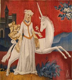 Мадекин. Дама с единорогом Templer, Unicorn Art, Little Fish, Kids Patterns, Gothic Art, Tapestry Weaving, Vintage Pictures, Mythical Creatures, Arabesque