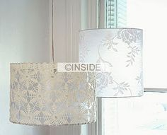 lace lampshade- inspiration only -can't find the original source. looks like they took lace and stitched it on a drum shade frame.