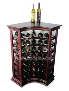 35 Bottle Corner Wine Rack With Top And Baseboard Features Solid Wood Cabinet Style