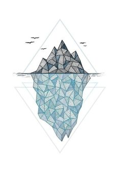 Geometric Drawing - Iceberg by Barlena Geometric Tattoo Design, Geometric Drawing, Geometric Designs, Geometric Shapes, Tattoo Abstract, Polygon Art, String Art, Graphic Design Art, Handmade Home Decor