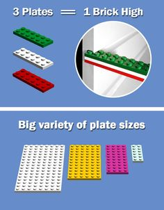 Put 3 LEGO plates together to create the height of 1 LEGO brick. Slide your bricks into the custom groove on BRICK RACK and start building!