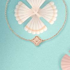 Sailing past water lilies and the seashells, follow these delicate rose gold Alhambra and Perlée creations on their journey. #VCAalhambra #VCAperlee #VanCleefArpels   Van Cleef And Arpels Jewelry, Van Cleef Arpels, Types Of Pins, Brilliant Diamond, Water Lilies, Sea Shells, Lily, Pendants, Rose Gold