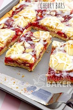 Soft cake bars loaded with cheery cherries or other fruit! Easy to make and delicious with coffee, tea or milk.