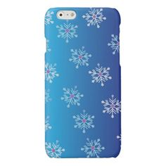 Blue Winter Falling Snowflakes Abstract Pattern Glossy iPhone 6 Case- My original abstract vector art & design. This cute snowflake iPhone 6 case would be a great gift for the holidays! Visit my store to shop for more colorful cases & gifts- www.zazzle.com/abstractpaintings*/
