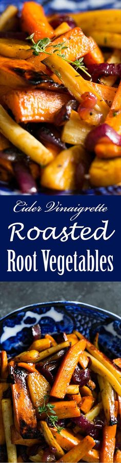 Cider Vinaigrette Roasted Root Vegetables ~ Beautiful roasted root vegetables—garnet yams, parsnips, carrots, beets—tossed in an apple cider vinaigrette and roasted until tender and caramelized. ~ SimplyRecipes.com