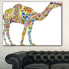 Designart 'Cheerful Floral Camel' Digital Art Canvas Print