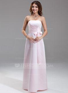 Bridesmaid Dresses - $94.99 - Sheath/Column Strapless Floor-Length Satin Bridesmaid Dress With Ruffle Bow(s) (007001777) http://jjshouse.com/Sheath-Column-Strapless-Floor-Length-Satin-Bridesmaid-Dress-With-Ruffle-Bow-S-007001777-g1777