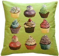 Cupcakes on Green French Tapestry Throw Pillow from Pillow D̩cor Рred accent pillow Green Throw Pillows, Throw Pillow Sets, Toss Pillows, Outdoor Throw Pillows, Accent Pillows, Pillow Talk, Green Home Decor, French Home Decor, Custom Outdoor Cushions