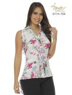 Blusa Moda Colombiana Solo Amor - Ref. 246 -2774-7 SA Fucsia Work Fashion, Fashion Pants, Fashion Outfits, Womens Fashion, Chiffon Shirt, Blouse Patterns, Lovely Dresses, Cute Tops, Casual Outfits