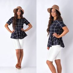 Navy Checkered Ruffle Bottom Blouse. Use the code SN10 for 10% off your order