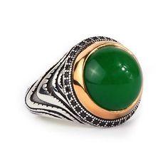 925K Sterling Silver Gemstone Man Ring With Natural Green Jade #IstanbulJewellery #Statement