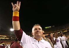 Head coach Todd Graham throws the fork after the Sun Devils' victory.