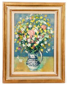 Andre Vignoles, Bouquet Aux Silenes Blancs, Oil : Lot 997. Estimated $2,000-$4,000