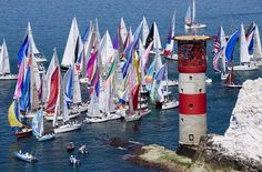 The Round the Island Race is organised by the Island Sailing Club in Cowes and is the largest on-water sporting event held in the UK. Float Life, Ile De Wight, Classic Sailing, Lighthouse Keeper, Yacht Boat, Sail Away, Tall Ships, Sailing Ships, Sailing Yachts