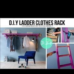 DIY Ladder clothes rack -- perfect for my new room! Diy Projects To Try, Home Projects, Apartment Projects, Studio Apartment, Diy Ladder, Ladder Hanger, Wood Ladder, Ladder Storage, Coat Storage