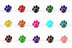 Multi-Colored Paw Prints Bottle Cap Images