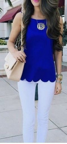 ~~~LOVE this color combo!  Cobalt blue scalloped edge too with white skinniest. Perfect for spring! Stitch fix spring summer 2017 fashion trends #affiliatelink