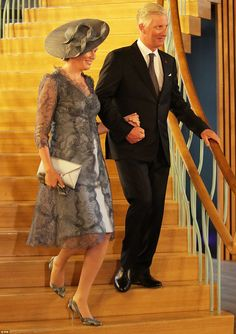 King Philippe and Queen Mathilde of Belgium were a picture of elegance as they arrived in Cloth Hall