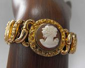 Antique Bracelet, Cameo, Expansion, Pitman & Keeler, American Queen, Signed, ca 1910s NT-1126