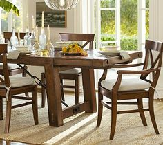 Benchwright Extending Dining Table - Rustic Mahogany stain #potterybarn I believe this will be my new table!