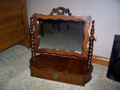 Antique Dresser Top Mirror Shaving Drawer Civil War Era Victorian Furniture