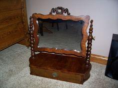 Antique Dresser Top Mirror Shaving Drawer Civil War Era Victorian Furniture #Victorian