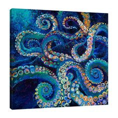 Octopus by Iris Scott- Gallery Wrapped Canvas Print Wall Art Octopus Painting, Octopus Wall Art, Fish Art, Fox Painting, Canvas Art, Canvas Prints, Art Prints, Beach Art, Painting Inspiration