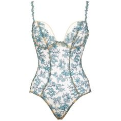 OuiHours Va Bien Atelier Midnight Garden Body ($175) ❤ liked on Polyvore featuring intimates, shapewear, bodysuits, body, lingerie, tops and floral