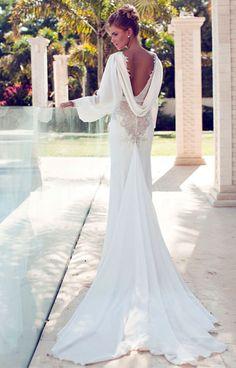 Nerit Hen свадебное платье с открытой спиной и вышивкой | смотреть фото цены купить