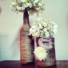 Twine wrapped bottles and embellishments