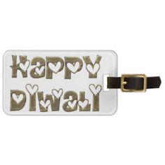 Happy Diwali Greeting Cute Hearts Typography Luggage Tag
