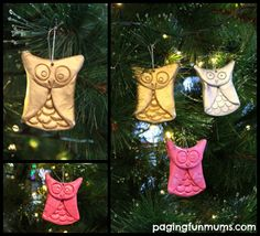 Clay Christmas Owls! So easy and FUN to make with the kids this Christmas - using a simple circle of Homemade Modeling Clay.
