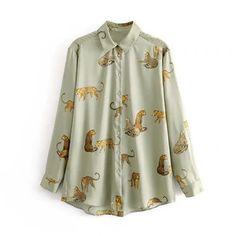 Aachoae Leopard Stylish Shirt Women Turn Down Collar Office Fashion Female Blouse Long Sleeve Plus Size Lady Tops Blusa Feminina Animal Print Shirts, Animal Print Blouse, Animal Prints, Loose Shirts, Long Sleeve Shirts, Leopard Blouse, Stylish Shirts, Long Blouse, Collar Blouse