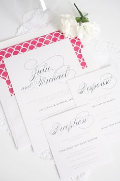 Planning a modern preppy wedding? Check out our elegant hot pink and navy wedding invitations with scallops | Shine Wedding Invitations